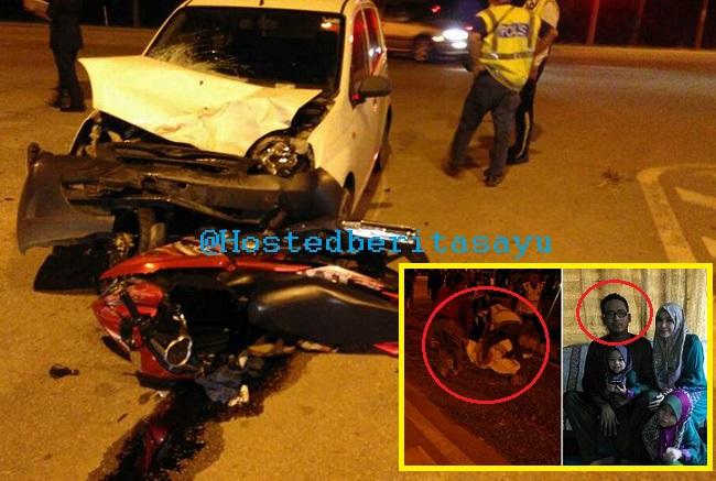 SEBAK !! Maut tercampak .. Suami maut, isteri mengandung 2 bulan parah dirempuh kereta pemandu mabuk (6 Gambar)