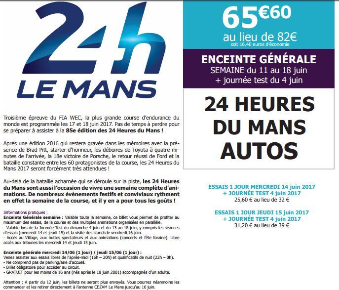 Carte Cezam Billetterie.Personnel Du Maine Et Loire De Cegelec Loire Ocean S A S 24h Du