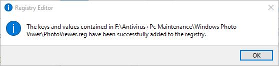 Windows Photo Viwer Registry added