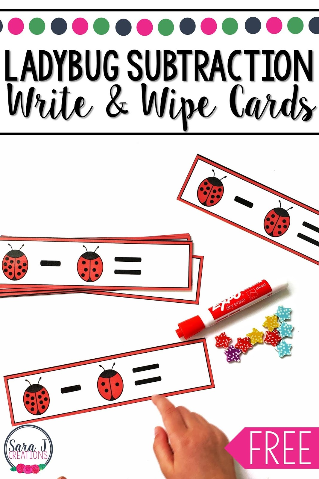 Ladybug Subtraction Write And Wipe Cards