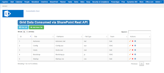 Responsive SharePoint Online Hosted Add-In using Bootstrap, Bootstrap Dialog, JQuery Datatables and Toastr