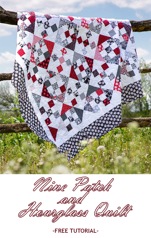 Nine Patch and Hourglass Quilt Free Tutorial designed by Jenny of Missouri Quilt Co