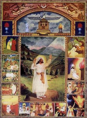 """Un'immagine """"religiosa"""" di Zarathuštra di epoca moderna, con cenni leggendari sulla sua vita."""