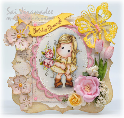Magnolia Tilda with Fantasy Flower Birthday Card