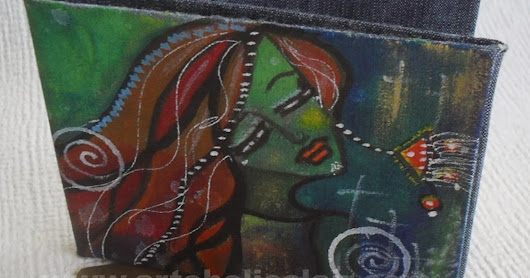 Billfold Slim Denim Wallet Hand made and Hand painted with 5 slots - Indian Dancing Princess Design and sacred symbols