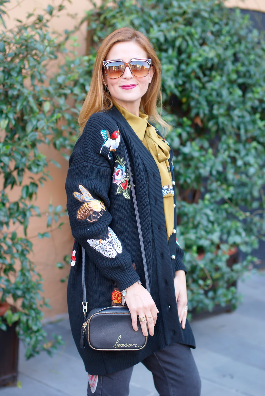 Gucci style Dezzal cardigan on Fashion and Cookies fashion blog, fashion blogger style