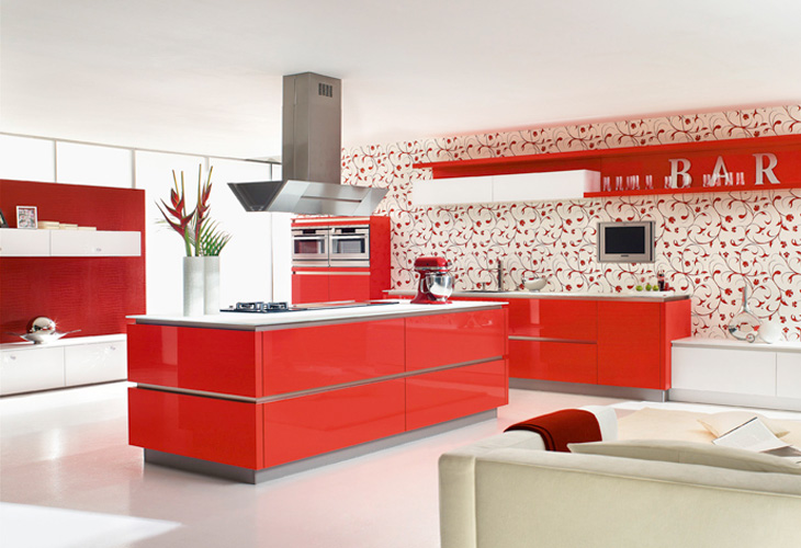 Cocinas modernas color rojo colores en casa for Decoracion de interiores color rojo