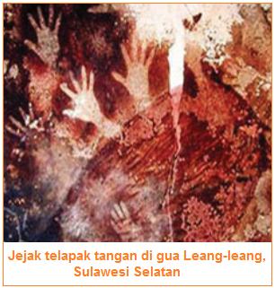 Jejak telapak tangan di gua Leang-leang, Sulawesi Selatan - Batik yang dipengaruhi kepercayaan