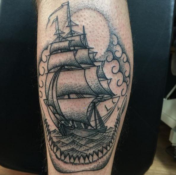 50+ Traditional Ship Tattoos Designs (2019) Pirate, Sailing
