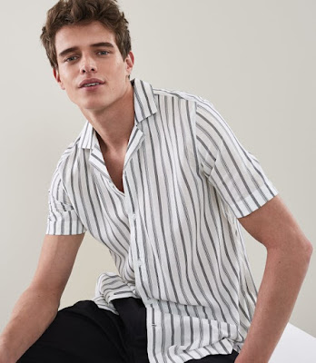 Reiss Striped Cuban collared shirt