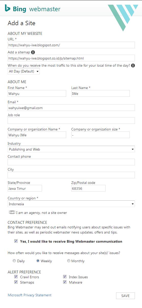 Cara Submit Sitemap di Bing Webmaster