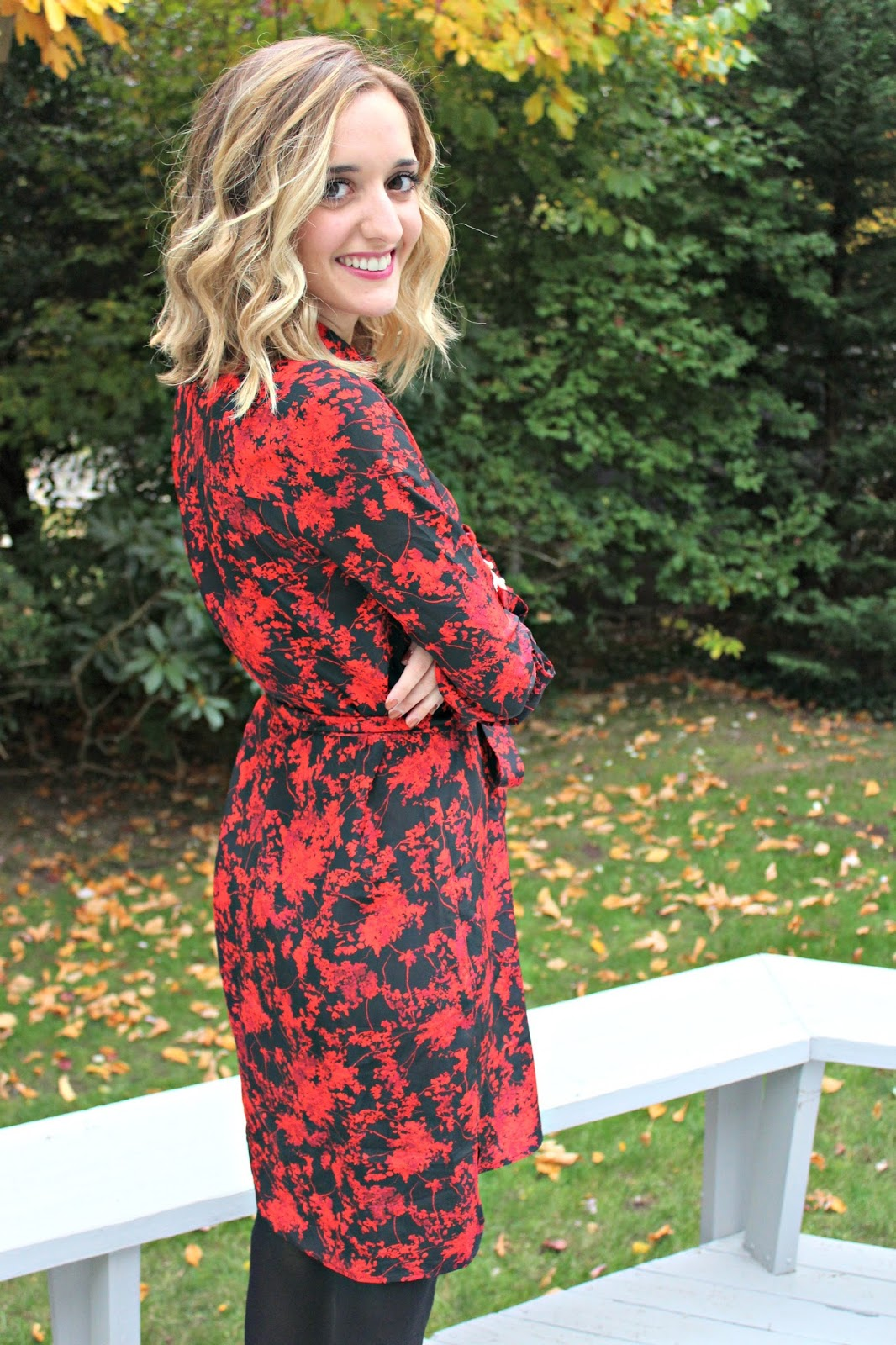 red and black dvf dress