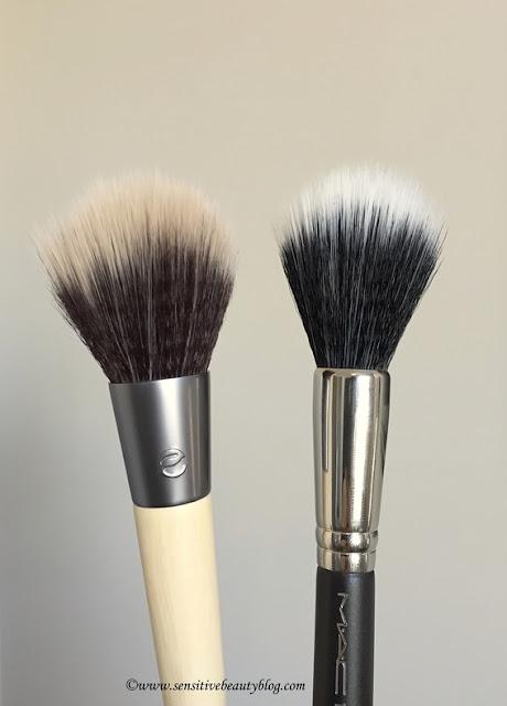 MAC 139S Brush vs Ecotools Sheer Finish Blush Brush comparison, review, dupe