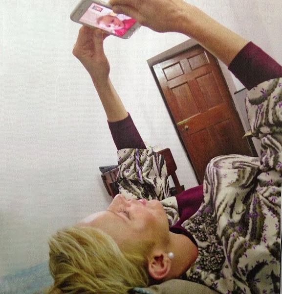 Princess Charlene of Monaco talking with Princess Gabriella via FaceTime on her birthday