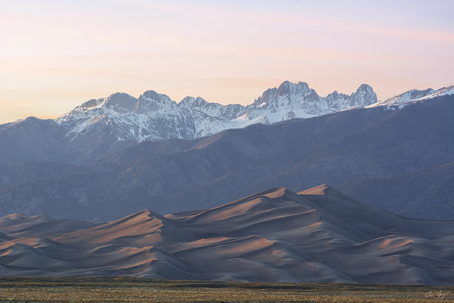 Sunset over the Great Sand Dunes National Preserve Colorado Star Dune and the Crestones