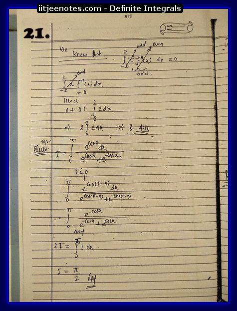 definite integrals cbse2
