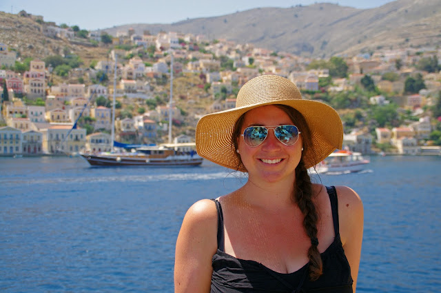 Girl Sailing into Simi Island Greece