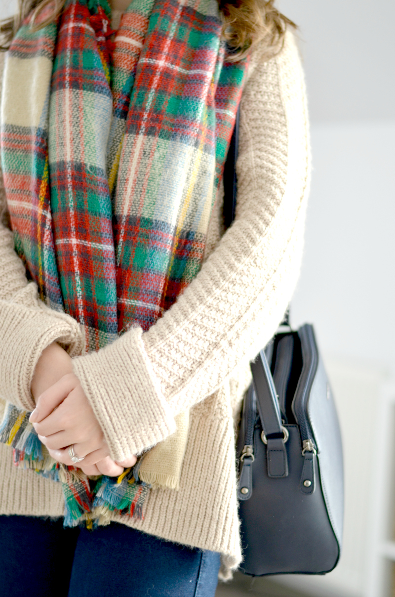 blanket tartan scarf and cable knit sweater autumn uniform outfit h&m