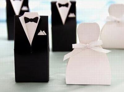 Cajas para Bodas de Tuxedo y Vestido de Novia para Imprimir Gratis.