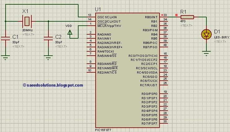 pic16f877 led blinking code proteus simulation saeed 39 s. Black Bedroom Furniture Sets. Home Design Ideas