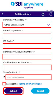 how can i  inter bank beneficiary account in sbi anywhere app