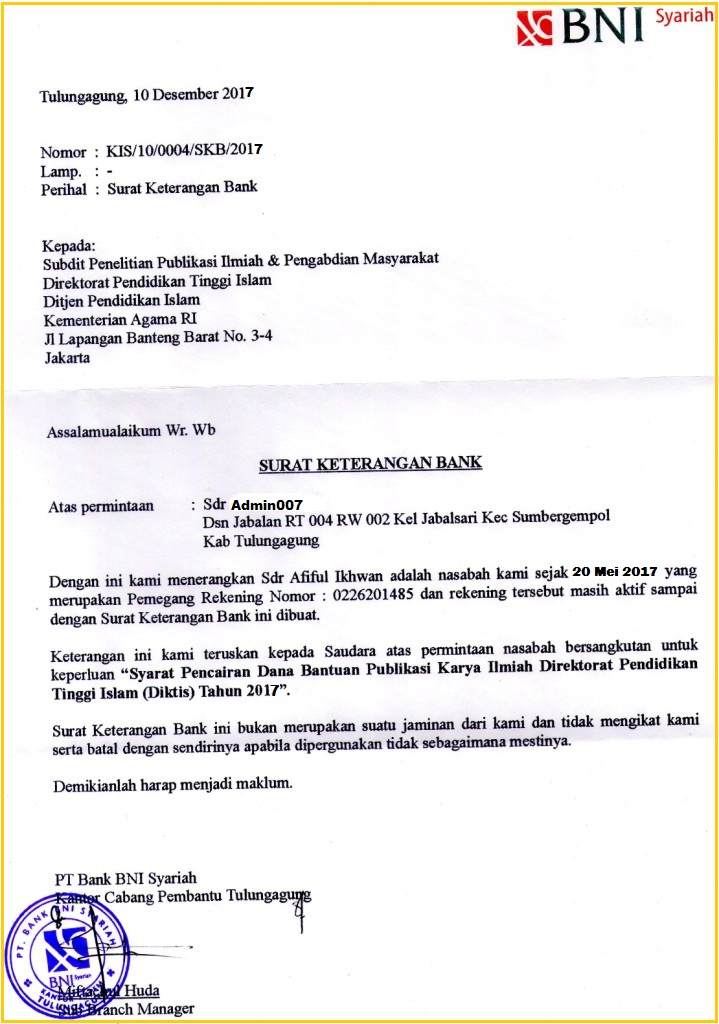 Syarat Mudah Mendapatkan Surat Keterangan Bank Skb Bni