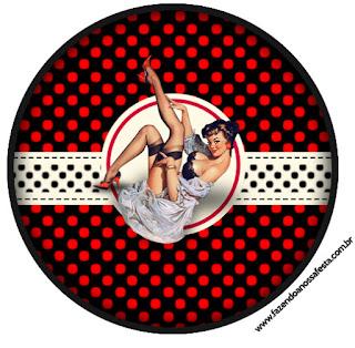 Toppers o Etiquetas de Pin Up en Negro con Lunares Rojos para imprimir gratis.