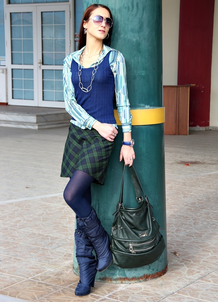 blue green plaid mini skirt