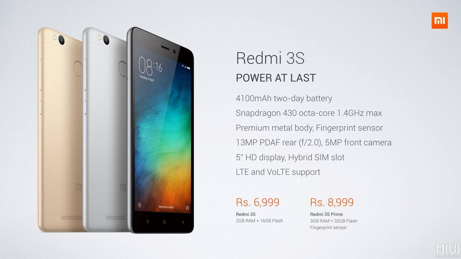 Redmi 3S 2GB+16GB & Redmi 3S Prime 3GB+32GB with Finger