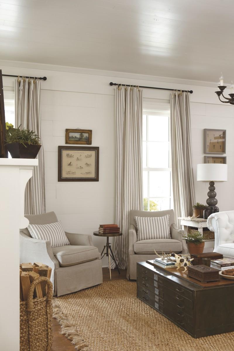 Southern Living Idea House 2012 | Emily Ann Interiors on Farmhouse Curtain Ideas For Living Room  id=56945