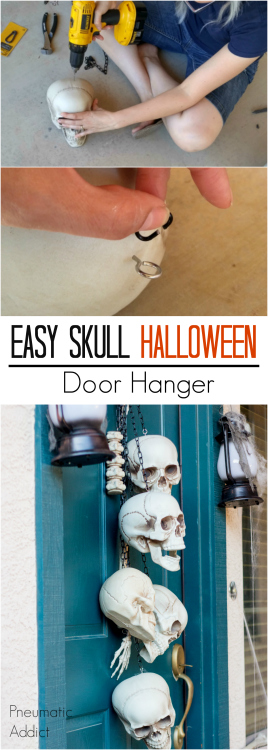 How to make a quick and easy skull door hanger, just in time for Halloween.