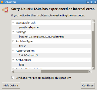 Ubuntu 12.04, Lubuntu 12.04, Kubuntu 12.04 and Xubuntu 12.04 has experience internal error report
