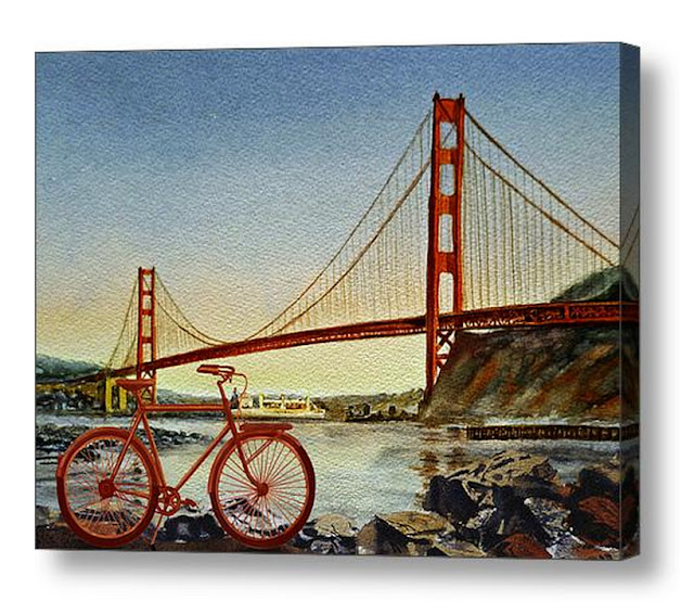 San Francisco California Watercolor Landscape