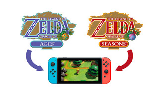 the logos of both Oracle games with arrows pointing from the logos to a Nintendo Switch