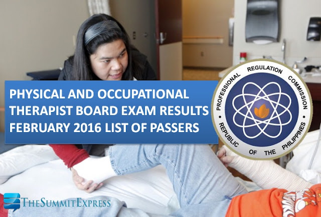 February 2016 Physical, Occupational Therapist (PT-OT) board exam results