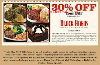 Black Angus Steakhouse coupons for december 2016