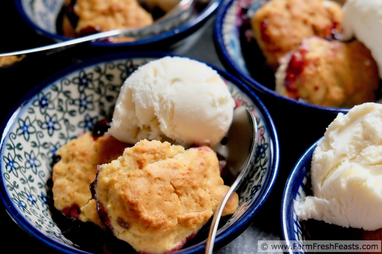 Fresh cherry and blueberry cobbler with vanilla ice cream