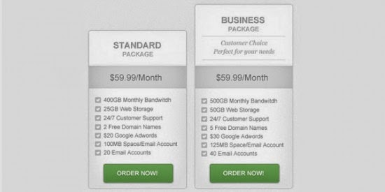 Clean and Simple Pricing Table PSD