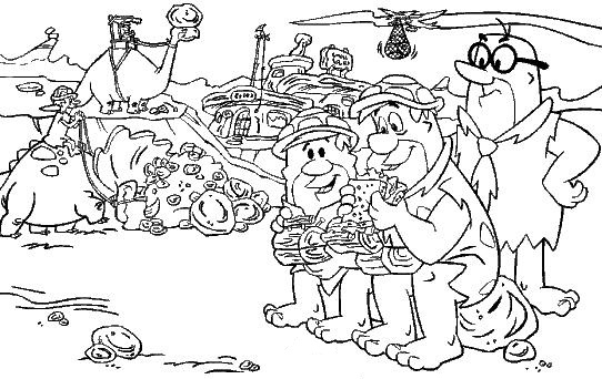 Dibujo de Pedro Picapiedra y Pablo Mármol en el trabajo para colorear pintar e imprimir