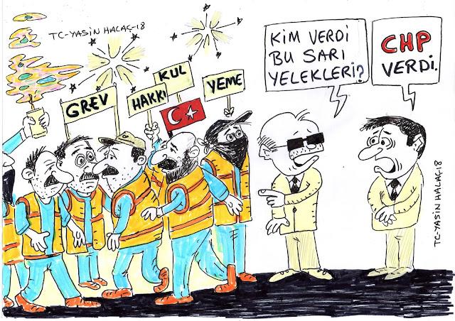 sarı yelekliler karikatürü