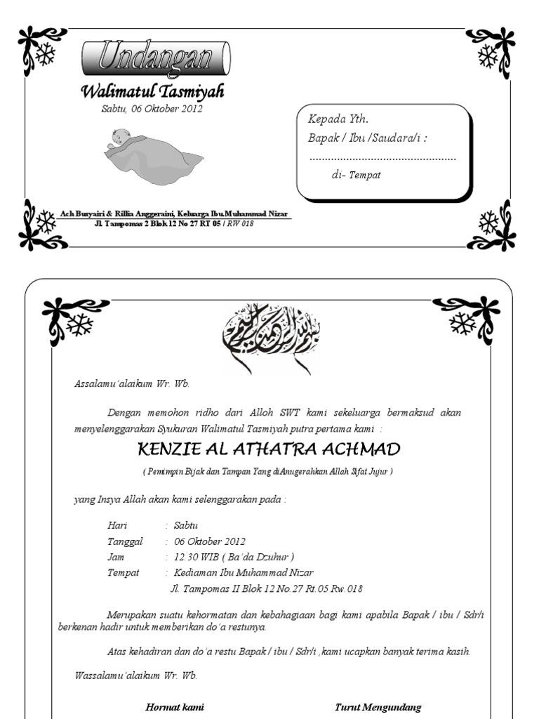 kartu ucapan aqiqah bisa di edit - wood scribd indo