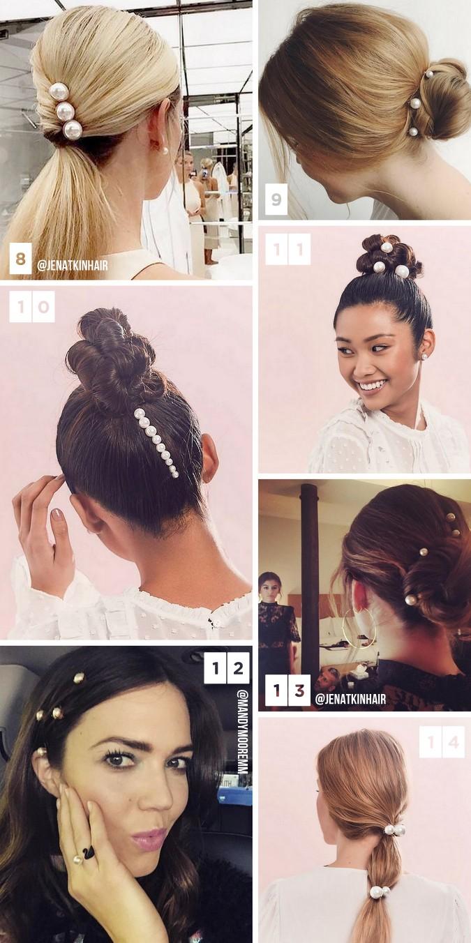 Penteados para casamento, festa e casuais com pérolas no cabelo. Tendência capilar 2017.