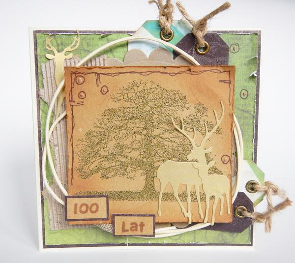 Kartka z drzewem i jeleniami