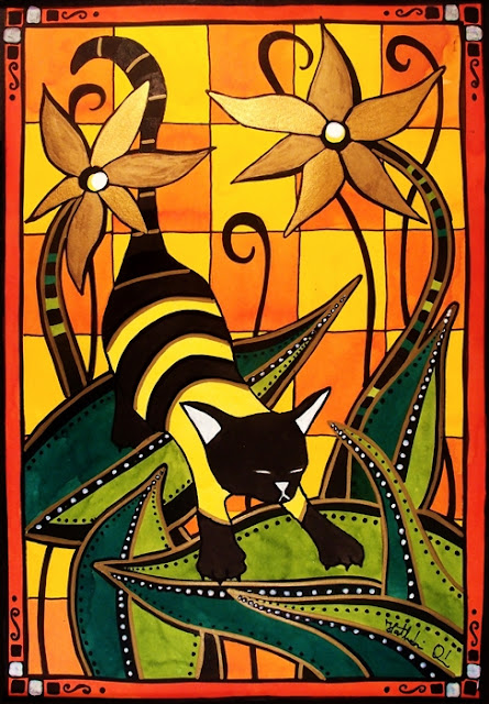 Cat Art titled Kitty Bee. Cat painting by Dora Hathazi Mendes