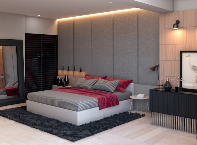 Strip of warm light above the headboard wall casts soft mood lighting over the entire room