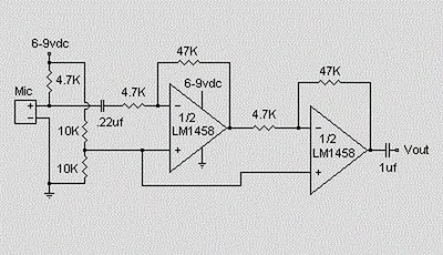 Condenser Pre Amplifier Lm 1458 Electronic Circuit