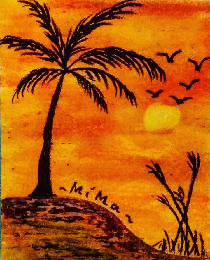 Lukisan Matahari Senja Cikimm Com