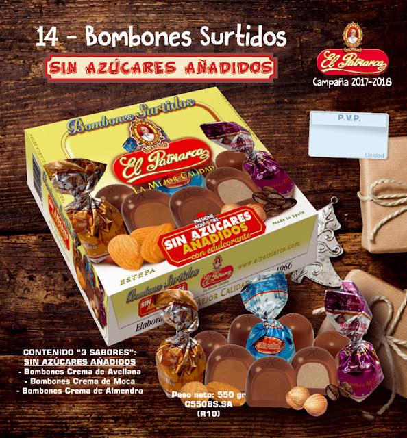 Bombones sin azúcares añadidos El Patriarca 550 g - Comercial H. Martin sa