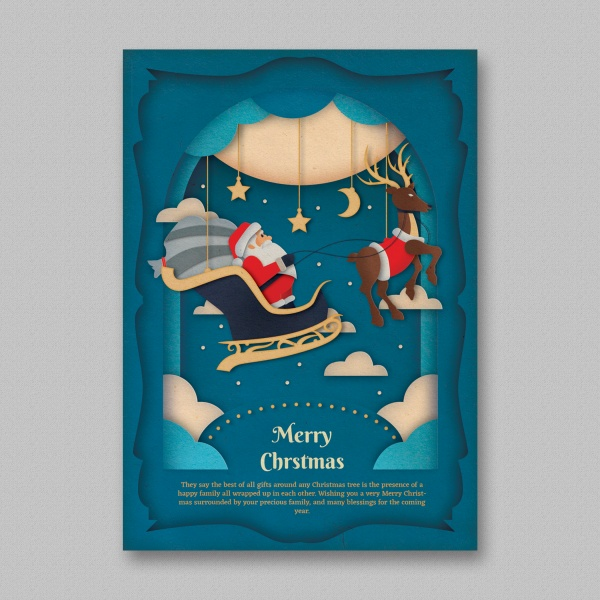 Flat Christmas poster source file merry christmas free psd template