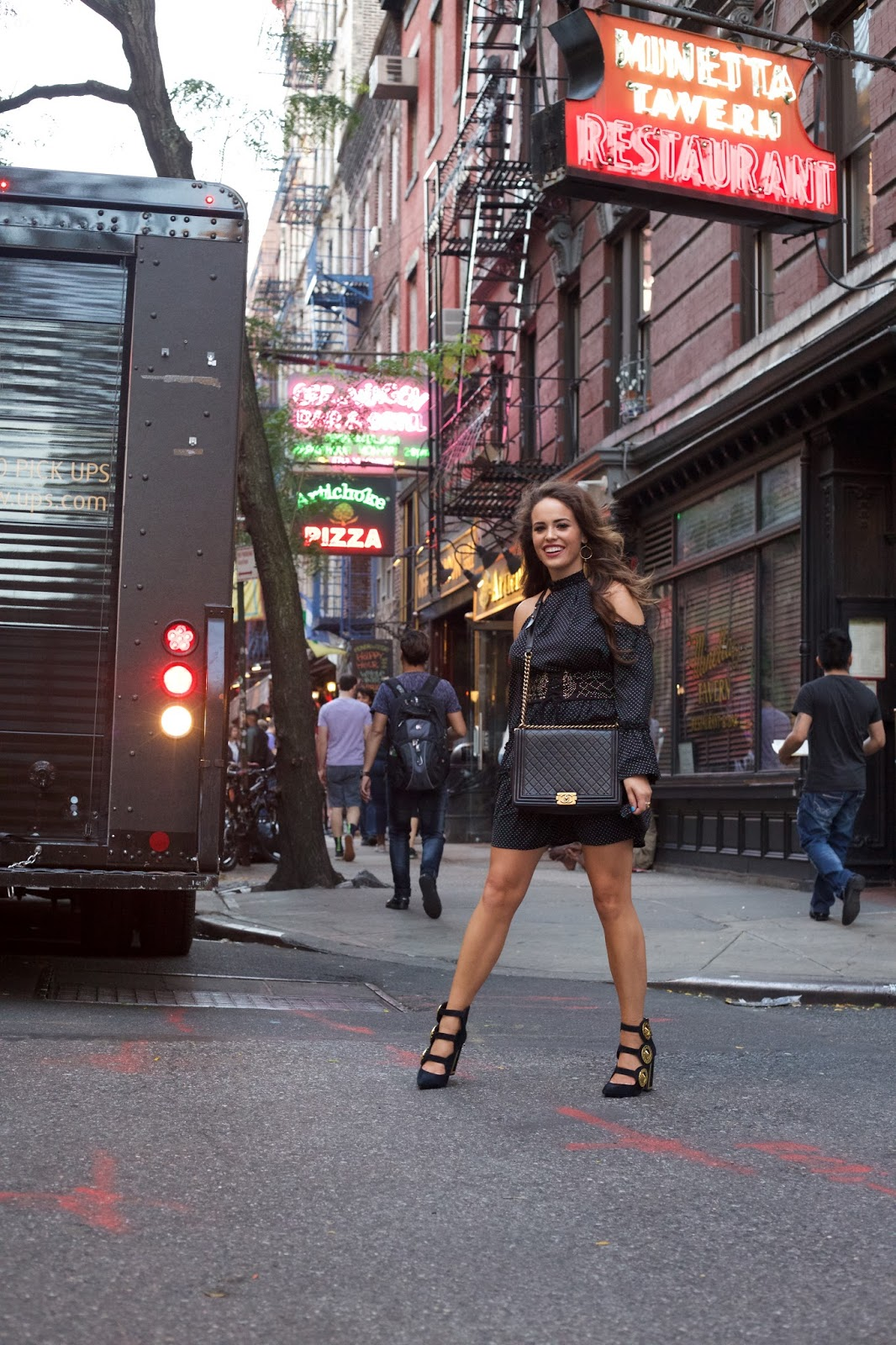 little black dress, west village style, black dress, gold jewelry, long sleeve dress, how to dress in nyc, nyc style, nyc blogger, nyc top blogger, elle harper, elle harper blog, fall transition dress, how to dress for fall in nyc, nyc fall style, nyc blogger style, new york city style, long sleeve dress, long sleeve black dress, black polka dot dress, long brown hair, chanel boy bag, black and gold chanel boy bag, extra large chanel boy bag, how to style chanel boy bag, mother premiere, how to dress to a film premiere, how to dress to a funeral